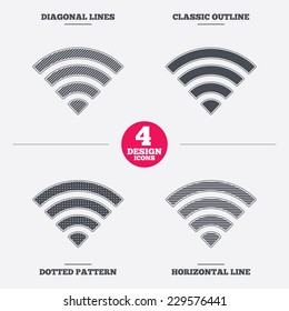 Wifi sign. Wi-fi symbol. Wireless Network icon. Wifi zone. Diagonal and horizontal lines, classic outline, dotted texture. Pattern design icons.  Vector