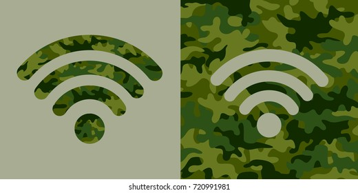 Wifi signal with khaki camouflage pattern. Usage of wi-fi, internet and cyberspace as military weapon and technology during cyberwarfare - cybernetic and information war and warfare.