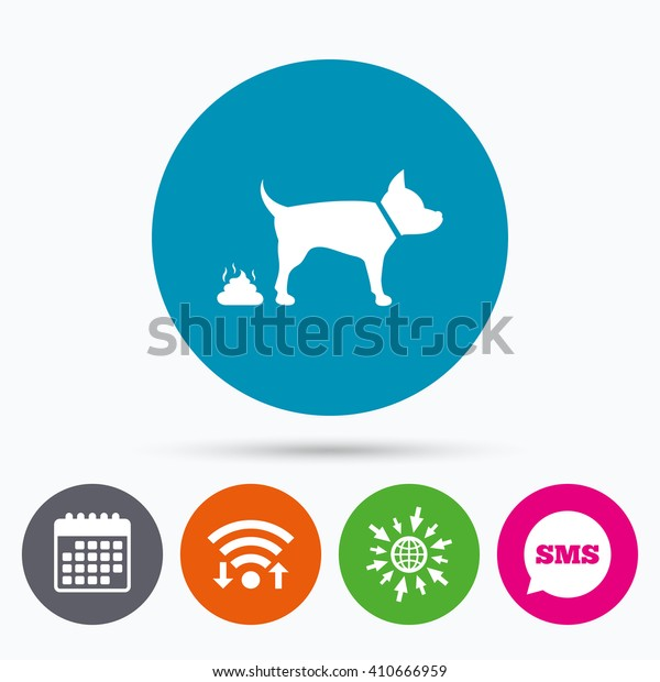 Wifi, Sms and calendar icons. Feces sign icon. Clean up after pets symbol. Put it in the bag. Go to web globe.