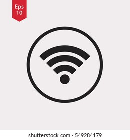 Wifi Symbol In Circle. Simple Flat Icon. Vector Illustrated Sign