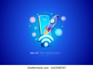 Wifi technology wireless speed. Mobile display smartphone and Rocket takeoff icons set blue background illustration