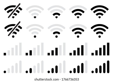 Wi-fi wireless icon collection.Connection icon set.Mobile phone bar icons.Signal strength Icon.Signal strength indicator. Wireless Symbol.