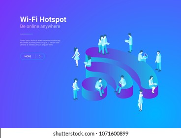 Wifi Wireless isometric flat illustration concept. People using Wi-fi.