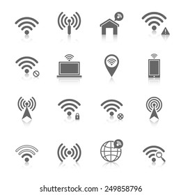 Wifi wireless local network internet connection access points icons set with antenna black abstract isolated vector illustration
