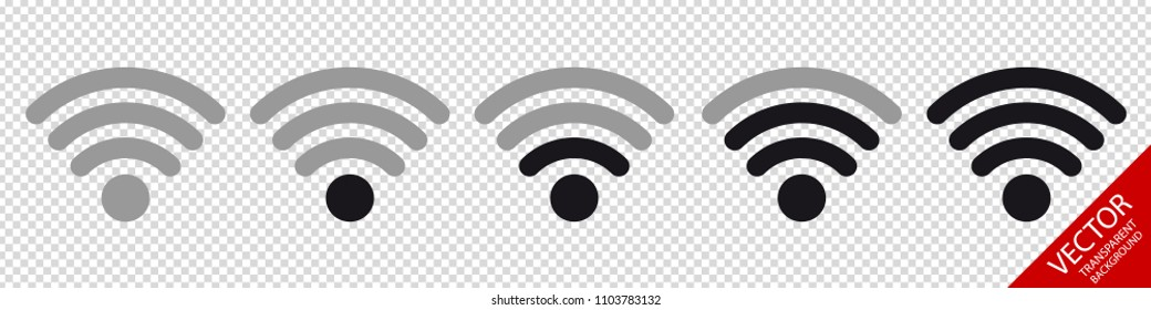Wifi Wireless Wlan Internet Signal Flat Icons For Apps Or Websites - Isolated On Transparent Background