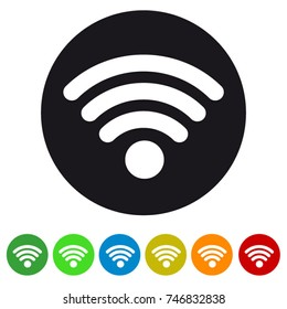 Wifi wireless wlan internet signal flat icon for apps or websites