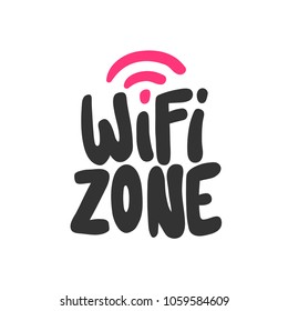 Wi-fi zone. Sticker for social media. Vector hand drawn word illustration. Abstract Bubble comic sketch pop art style. Good for poster, t shirt print, card, video blog cover design