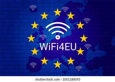 wifi4eu - free Wi-Fi hotspots in the European Union. EU flag and map. vector illustration