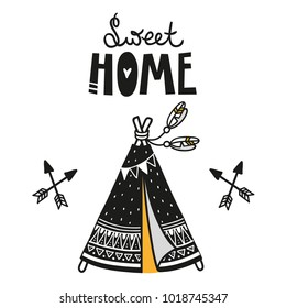Wigwam poster for baby room, greeting card, print on the wall, pillow, decoration kids interior, baby wear and t-shirts