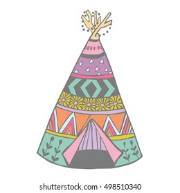 Wigwam vector illustration. Creative teepee home. Nomadic hand-crafted tent.