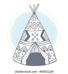Wigwam vector illustration for t-shirt design prints and other creative projects