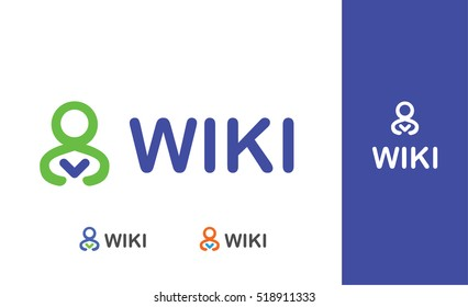 Wiki vector logotype template for education, university, library, book shop or club, school. Reading person icon and illustration.