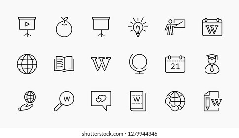 Wikipedia's birthday Set Line Vector Icon. Contains such Icons as Wikipedia, Apple, Book, Teacher, Blackboard, Pointer, Web Globe, Directory, Search, Lamp, Calendar Editable Stroke 32x32 Pixel Perfect