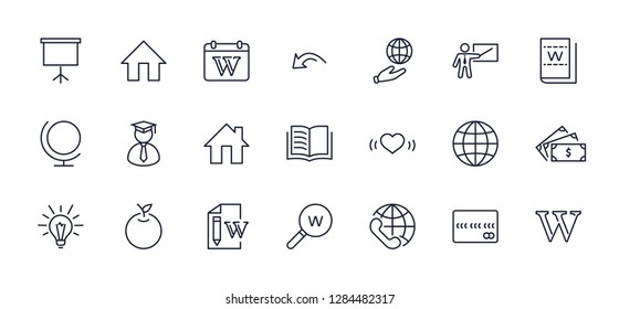 Wikipedia's birthday Set Line Vector Icon. Contains such Icons a