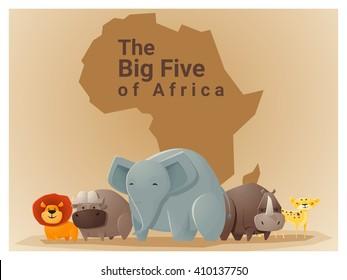 Wild African animal background Big five,vector, illustration