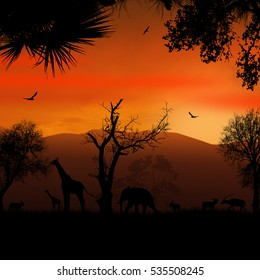 Wild african animals silhouettes in beautiful sunset, vector illustration