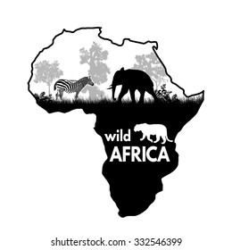 Wild african animals silhouettes on the map of Africa on white, vector illustration