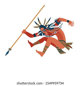 Wild american indian warrior ran to attack its prey. Unusual savage costume, jewelry, makeup combat and spear in hand. Cartoon, flat vector illustration isolated white background.