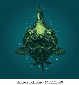 wild angler fish vector art