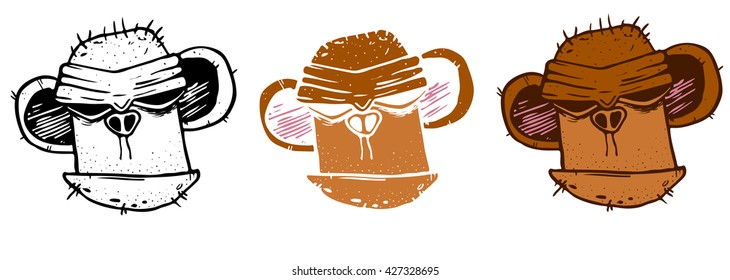 Wild angry ape head for mascot design. Vector illustration on white background.