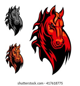 Wild angry horse head mascot. Powerful stallion in cartoon style for equestrian sport theme