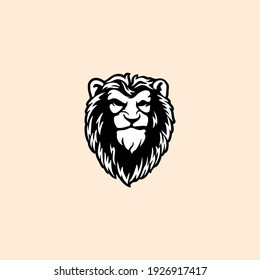 Wild Angry Lion Head Logo Vector Template Illustration Design Mascot Animal