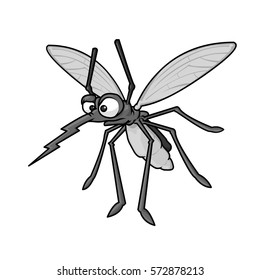 Wild Angry mosquito on white background cartoon