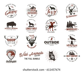 Wild animal Badges set and great outdoors activity insignias. Retro illustrations. Typographic camping style. Vector badges, logos with letterpress effect. Custom explorer quotes