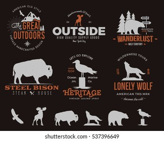 Wild animal badges set and outdoors activity insignias. Retro illustration of animal badges, typography camping style. Vector animal badges logos with letterpress effect. Custom explorer quotes.