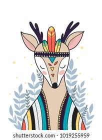 Wild animal, boho illustration. Woodland animal with decorative elements. Printable nursery prints.Vector deer