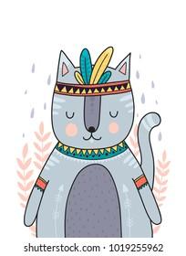 Wild animal, boho illustration. Woodland animal with decorative elements. Printable nursery prints. Vector cat