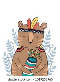 Wild animal, boho illustration. Woodland animal with decorative elements. Printable nursery prints.Vector bear