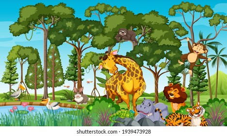 Wild animal cartoon character in the forest scene illustration