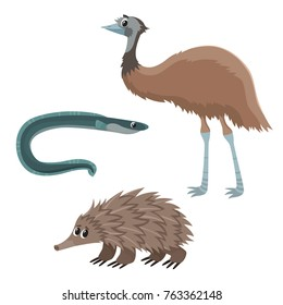 Wild animal in cartoon style. Vector illustration of emu, eel and echidna isolated on white. Cute zoo alphabet, letter E. Illustration used for magazine, poster, card, book, web pages.