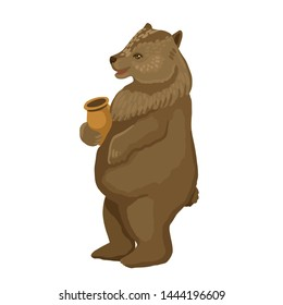A wild animal, a character from a fairy tale, a brown big bear stands on its hind legs and eats honey, a resident of the forest. Vector cartoon flat style illustration on white background
