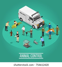 Wild animal control design concept with people figurines used in quantitative control catching and medical care isometric vector illustration