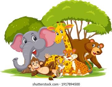 Wild animal group cartoon character on white background illustration