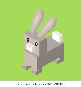 Wild animal hare, gray rabbit isometric 3d. Isolated hare zoo, rabbit nature, wildlife flat animal  icon, forest wild animal vector illustration on green background