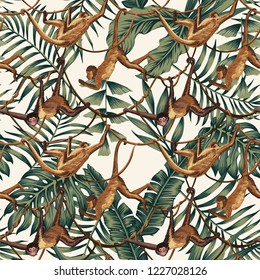 Wild animal monkeys on creepers liana on the tropical leaves background seamles tropical pattern composition