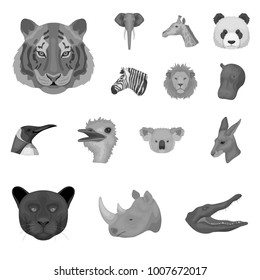 Wild animal monochrome icons in set collection for design. Mammal and bird vector symbol stock web illustration.