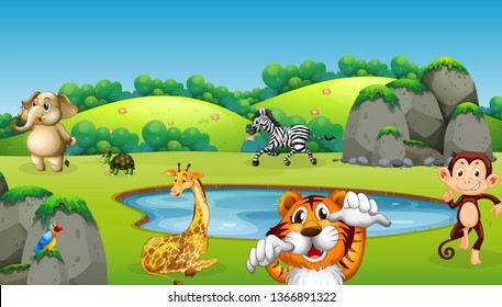 Wild animal in nature illustration