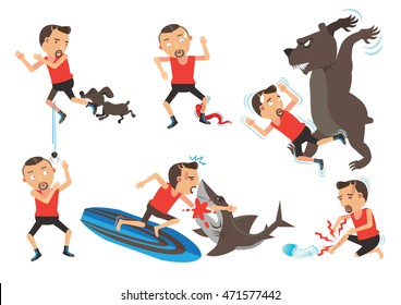 Wild Animal And pets Attacking Hurting Human.Cartoon vector illustration