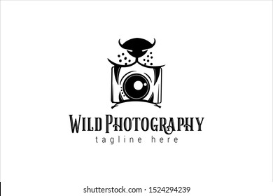 wild animal photography logo template with tiger's mouth as a camera symbol