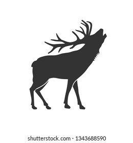 wild animal reindeer drawn silhouette illustration design