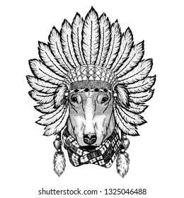 Wild animal wearing inidan headdress with feathers. Boho chic style illustration for tattoo, emblem, badge, logo, patch. Children clothing.