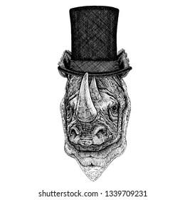 Wild animal wearing top hat, cylinder. Hipster rhinoceros, rhino