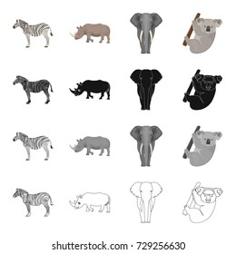 Wild animal zebra, rhinoceros, elephant, koala. Different kinds of animal set collection icons in cartoon black monochrome outline style vector symbol stock illustration web.