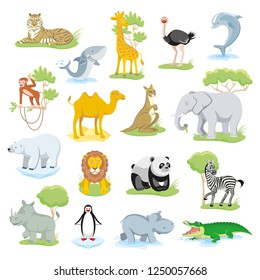 Wild animals African, Australian, Arctic, Antarctic, Asian fauna isolated animals and sea creatures set with landscape.Vector illustration