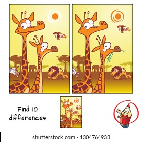 Wild animals in african savannah. Find 10 differences. Educational matching game for children. Cartoon vector illustration