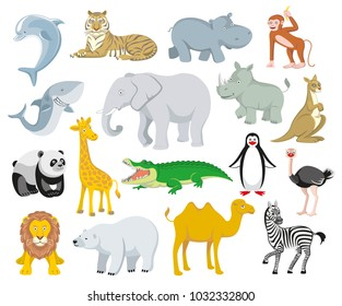 Wild animals Australia, Asia, the Arctic, Antarctica fauna isolated  and sea creatures set. Vector illustration